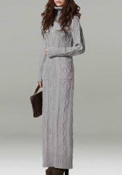 Fashionable Turtleneck Long Sleeve Solid Color Knitted Dress For Women -