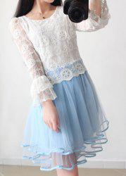 Vintage Scoop Neck Flare Sleeves Lace Splicing Dress For Women -