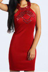 Sexy Round Neck Sleeveless Backless Bodycon Rhinestoned Women's Dress