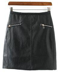 PU Leather Packet Buttock Zippers Embellished Women's Skirt -