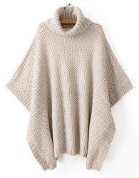 Casual Style Turtle Neck Solid Color Batwing Sleeve Women's Sweater -