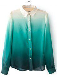 Stylish Turn-Down Collar Ombre Design Chiffon Long Sleeve Women's Blouse -