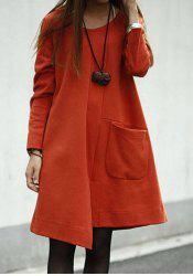 Loose Long Sleeve Round Collar Asymmetrical Hem Women's Dress - JACINTH