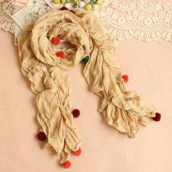 Gorgeous Wool Ball Decoration Pleated Scarf For Women -