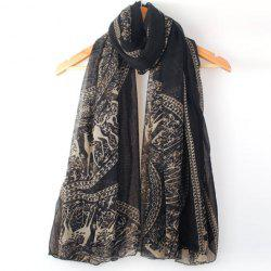 Ethnic Style Color Block Deer Pattern Scarf For Women - BLACK