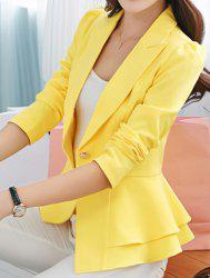Stylish Lapel Long Sleeve Solid Color One-Button Women's Blazer -