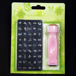 One Set Stylish Rectangle Nail Art Template and Manicure Nail Printing Machine For Women - PINK