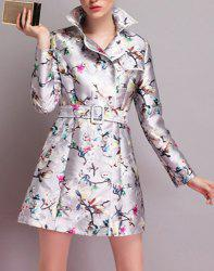 Vintage Turn-Down Collar Printed Trench Coat For Women -