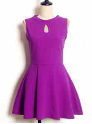 Vintage Keyhole Neck Sleeveless Solid Color Pleated Dress For Women -