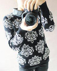 Fashionable Flat Collar Floral Print Long Sleeve Women's Sweater -