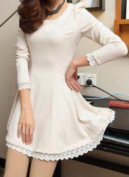 Stylish Scoop Collar Lacework Splicing Waisted Corset Long Sleeve Women's Dress -