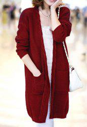 Elegant Cable-Knit Loose-Fitting Long Sleeve Cardigan For Women -