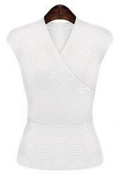 Stylish V-Neck Solid Color Sweater For Women -