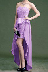 Vintage Strapless Solid Color Rose Asymmetric Prom Dress For Women -