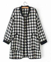 Stylish Stand Collar Long Sleeve Houndstooth Pattern Double Pockets Women's Coat -