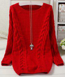 Vintage Scoop Neck Long Sleeve Solid Color Loose-Fitting Women's Sweater