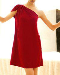 Vintage One-Shoulder Pleated Prom Dress For Women -