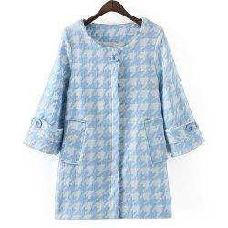 Elegant Style Scoop Collar 3/4 Sleeve Houndstooth Pattern Women's Coat -