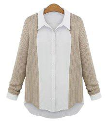 Casual Shirt Collar Long Sleeve Spliced Single-Breasted Women's Shirt - APRICOT M