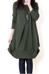 Casual Scoop Neck Long Sleeves Solid Color Pleated Dress For Women -