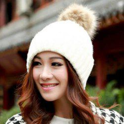 Fuzzy Ball Knitted Winter Toboggan Hat - COLOR ASSORTED