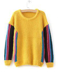 Casual Style Long Sleeve Scoop Collar Striped Color Block Women's Sweater -