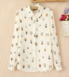 Long Sleeves Chiffon Button Down Blouse