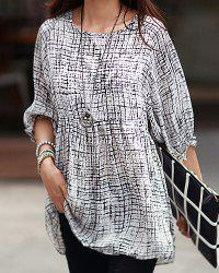 Casual Scoop Neck 3/4 Length Sleeves Printed Dress For Women -