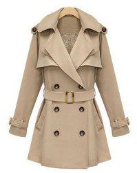 Casula Lapel Solid Color Lace-Up Long Sleeve Women's Trench Coat