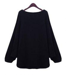 Stylish Scoop Neck Long Batwing Sleeve Solid Color Loose-Fitting Women's Knitwear -