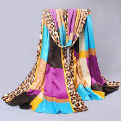 Chic Style Leopard Print Color Block Pashmina For Women -