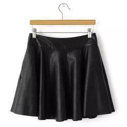 Sweet Black Zipper Fly PU Leather Pleated Skirt For Women -