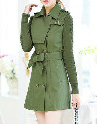 Stylish Turn-Down Collar Long Sleeve Double-Breasted Lace-Up Women's Trench Coat
