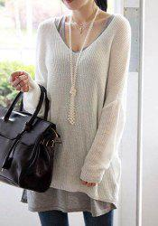 Stylish V-Neck Loose-Fitting Dolman Sleeve Sweater For Women