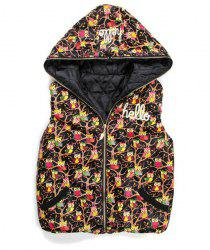 Vintage Night Owl Printed Zippered Hooded Cotton Vest For Women -