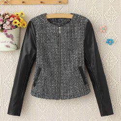 Stylish Round Collar Long Sleeve Faux Leather Splicing Women's Jacket -
