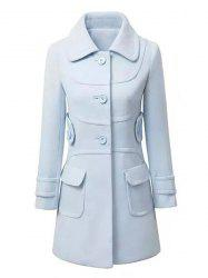 Fashionable Turn-Down Collar Long Sleeve Solid Color Single-Breasted Women's Coat