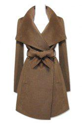 Fashionable Turn-Down Collar Long Sleeve Solid Color Coat For Women -