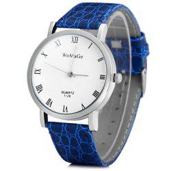 WoMaGe 1128 Quartz Watch Round Dial Leather Watchband for Men -