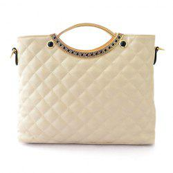 Trendy Checked and Metallic Design Women's Shoulder Bag - OFF-WHITE