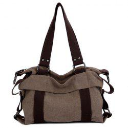 Rivet Canvas Shoulder Bag - DEEP BROWN