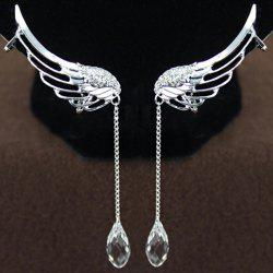 Pair of Stylish Women's Rhinestone Wings Ear Clips