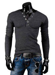 Stylish Round Neck Slimming Solid Color Button Design Long Sleeve Polyester T-Shirt For Men
