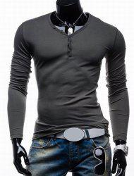 Long Sleeves Plain V Neck Button T Shirts -
