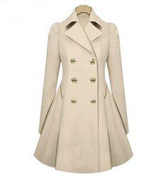Casual Turn-Down Collar Solid Color Double-Breasted Long Sleeve Women's Coat