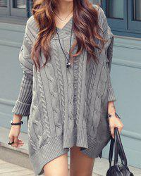 Oversized Cable Knit Slouchy Jumper Dress - GRAY