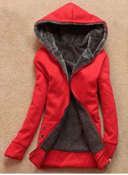Stylish Long Sleeves Solid Color Flocking Hooded Hoodie For Women - RED ONE SIZE