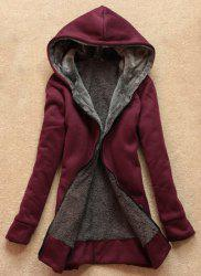 Stylish Long Sleeves Solid Color Flocking Hooded Hoodie For Women - WINE RED