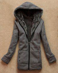 Stylish Long Sleeves Solid Color Flocking Hooded Hoodie For Women - DEEP GRAY