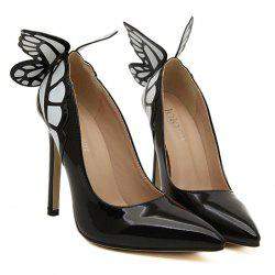 Gorgeous Butterfly and Point Toe Design Women's Pumps - BLACK